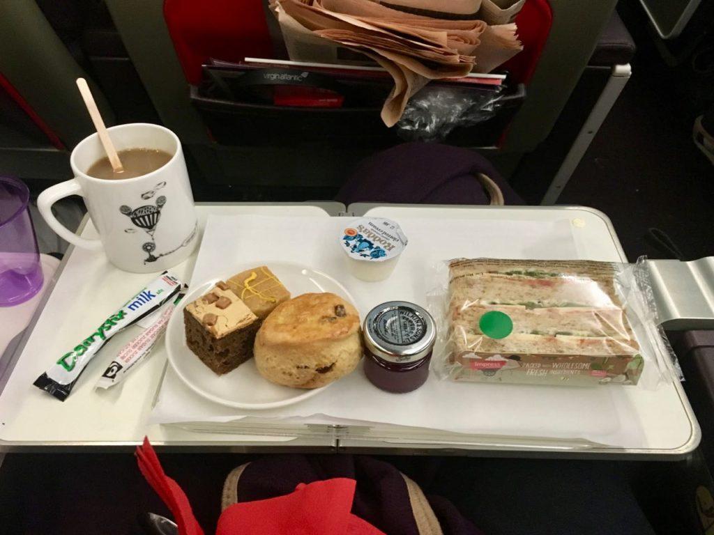 Virgin Atlantic Premium Economy afternoon tea service