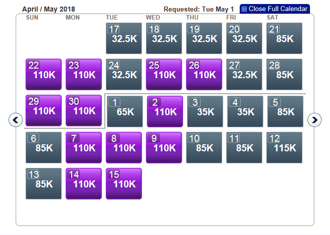 First Class award availability on American Airlines' Dallas-Hong Kong flights in May 2018.