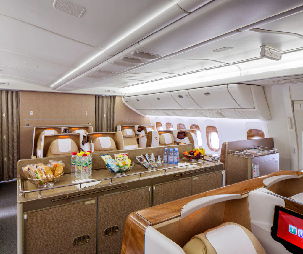Mini Lounge onboard the Emirates Boeing 777-200LR. Source: Emirates