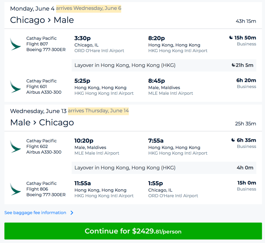 Cathay Pacific is having great fares from Chicago (ORD) to Maldives (MLE) in Business Class.