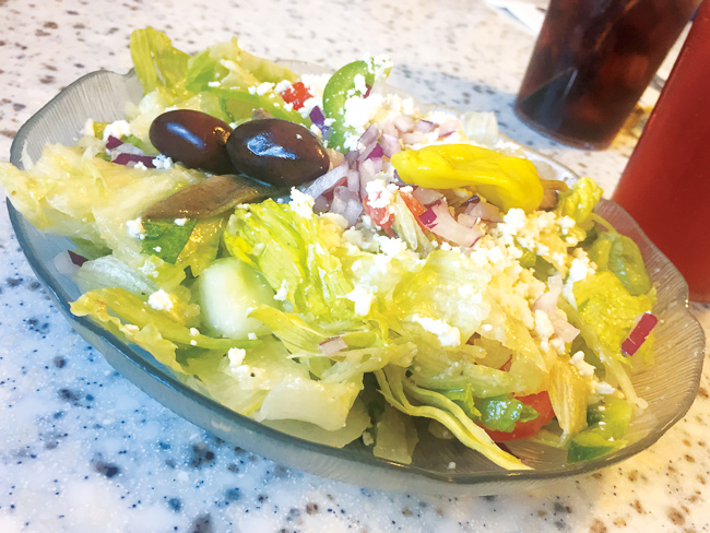 A side Greek salad at Olympia Flame Diner in Deerfield Beach.