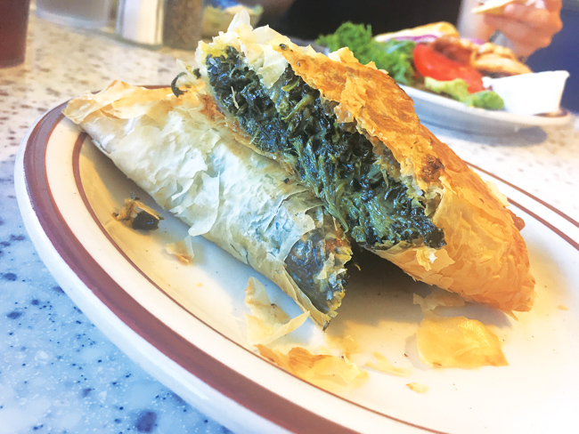 Flakey Spanakopita at Olympia Flame in Deerfield Beach.