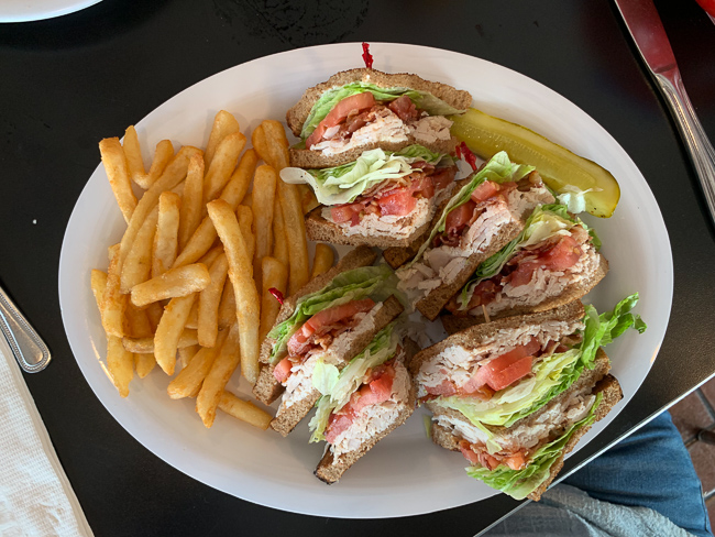 A club sandwich with fries at Nelson's Diner in Pompano Beach.
