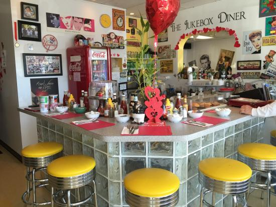 The main dining room of the Jukebox Diner in Pompano Beach.