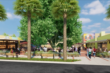 Rendering of The Backyard public plaza in Pompano Beach's Old Town district.