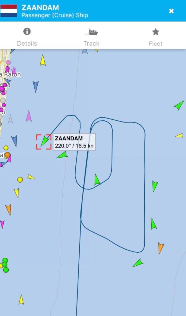 AT 3:25pm EST Holland America's Zaandam cruise ship is finally headed toward Port Everglades.