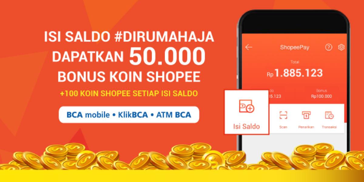 Isi Saldo Shopee Pay Lewat E Banking Bca Bonus 50 000 Points Geek