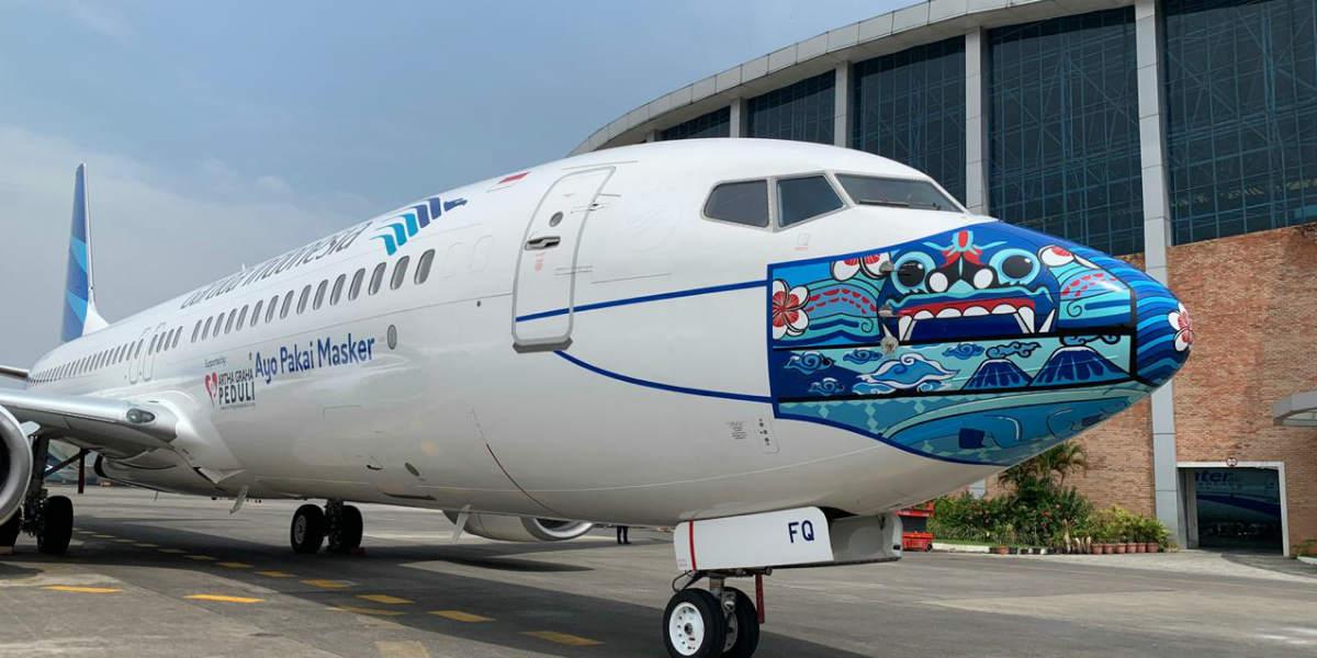 Desain Masker Terbaru di Pesawat Garuda Indonesia