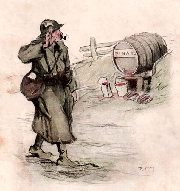 "This 1917 image depicts a poilu saluting a barrel of ""father Pinard."""