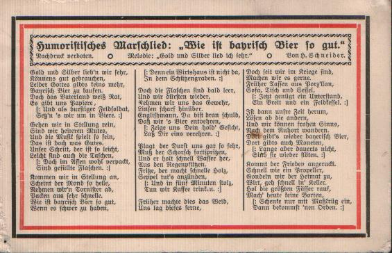 This postcard contains a marching song extolling the quality of Bavarian beer. Source: http://www.zum.de/psm/1wk/karten4.php