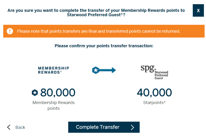 SPG Transfer from AMEX