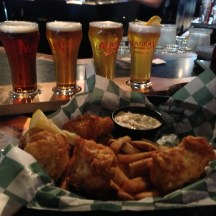 Humpy's Halibut n Chips with a flight of Alaskan Brewery Beers