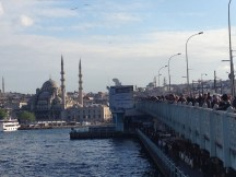 Fishermen on Galata Bridge in Istanbul