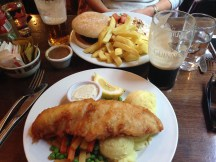 Fish and Chips and a Burger at The Creamery Bar