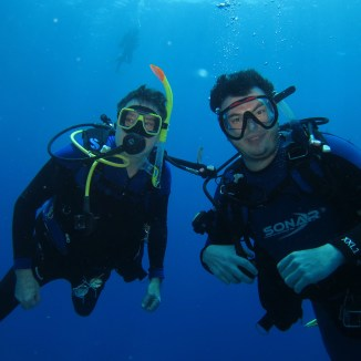 Dad and I underwater