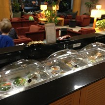Appetizer offerings at Global First Class Lounge at LAX