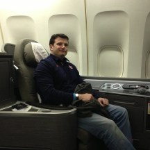 Me in seat 1A in United Global First Class on the B747-400