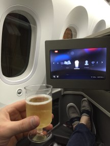 Cheers! Pre-departure champagne