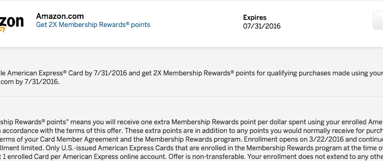 earn 2x amex points on amazon