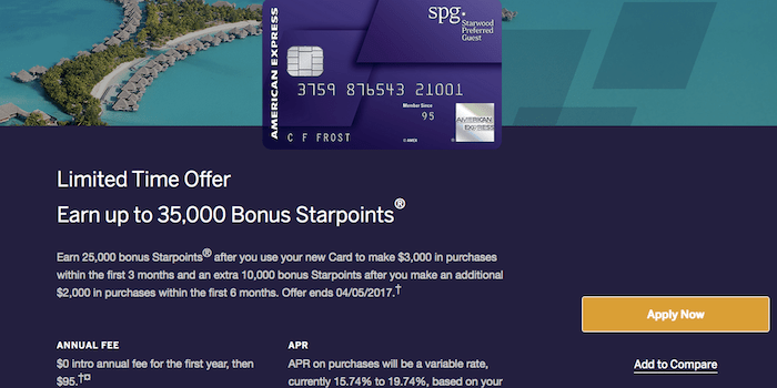 Starwood amex is offering 35000 bonus starpoints starwood amex is offering 35000 bonus starpoints on their personal and business versions of the card this is the best offer weve seen and it only colourmoves