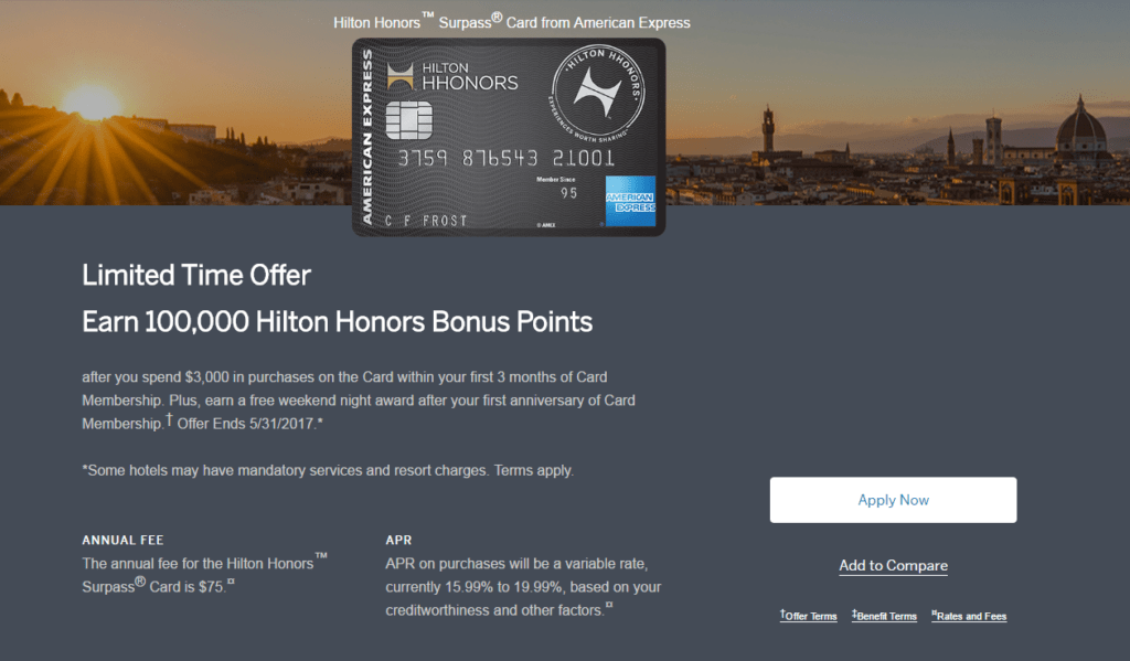 hilton amex cards biggest bonus ever