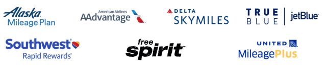 The logos of the Airline dining programs offered through Rewards Network