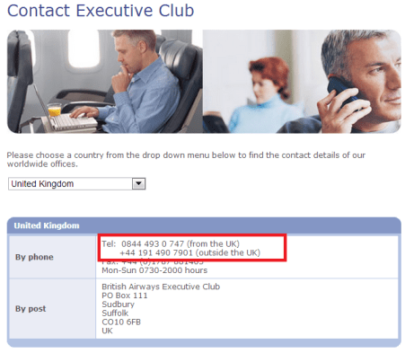 british airways free phone number uk