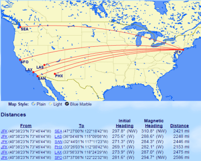 Ex-JFK 2000 mile routes