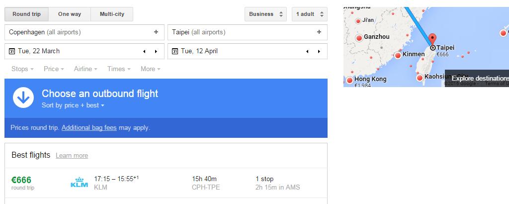 CPH-TPE Google Flights result