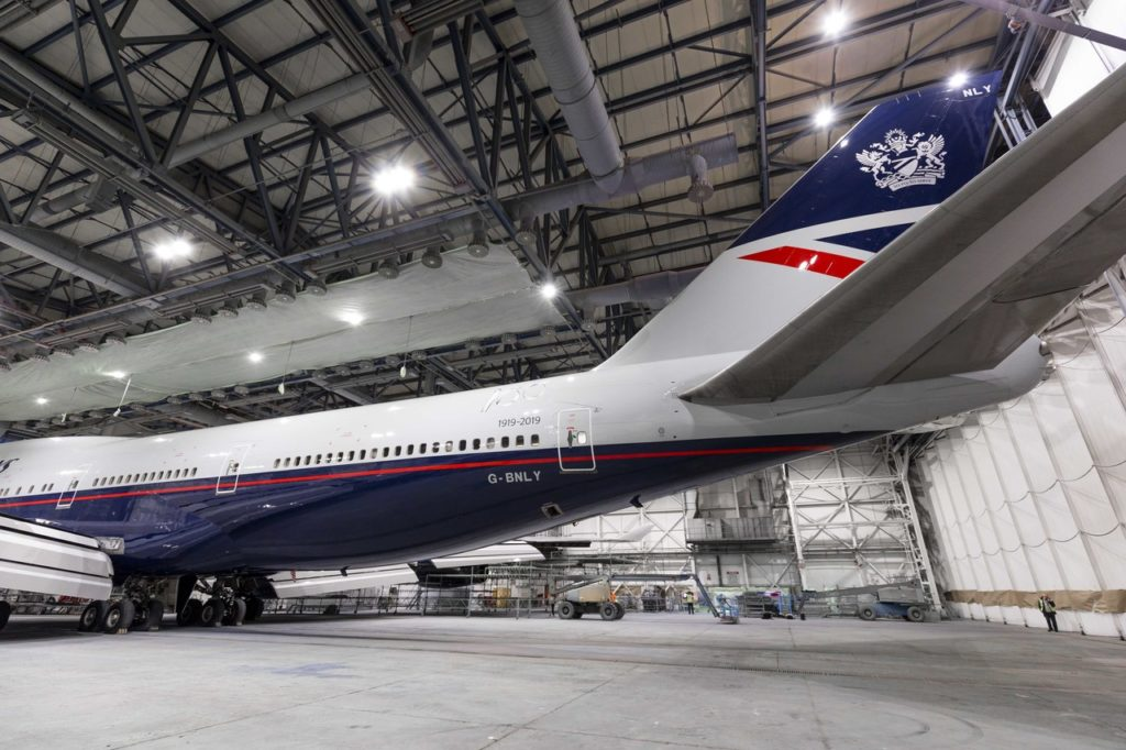British Airways Landor Retro Livery G-BNLY Boeing 747 in Hangar