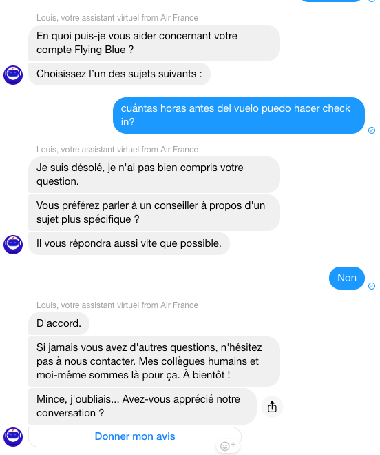 Asking Louis, the Air France chat bot questions in English, French and Spanish.