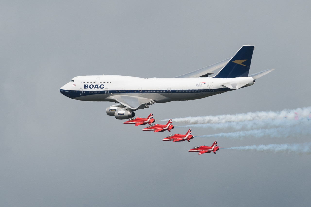 British Airways B747 G-BOAC flying with Red Arrows