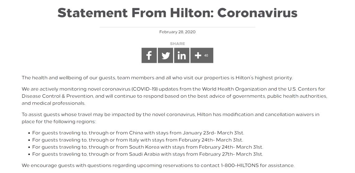 Hilton Coronavirus Cancellation Policy