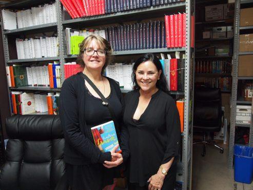 Dyer and Gabaldon with book