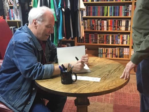 Joe Lansdale signing books