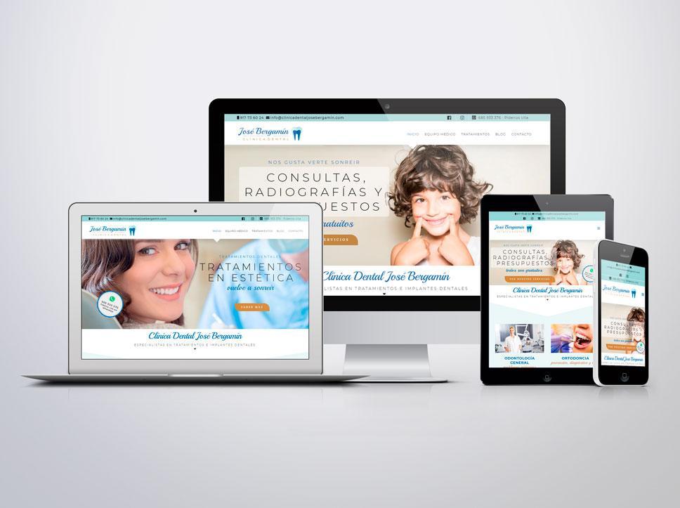 página web para Clínica dental José Bergamín por Posion Estudio en Bilbao