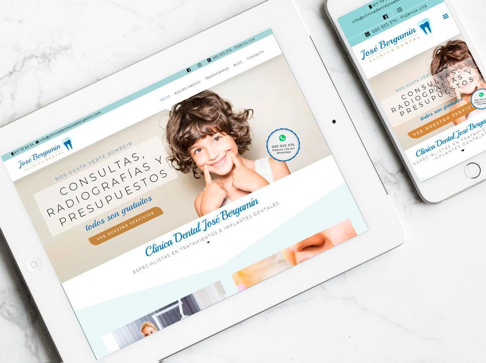 gina web para Clínica dental José Bergamín por Posion Estudio