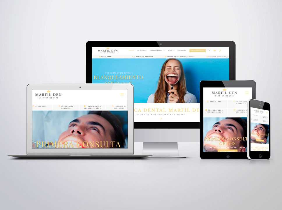 Diseño de página web para Marfil Den por Poison Estudio