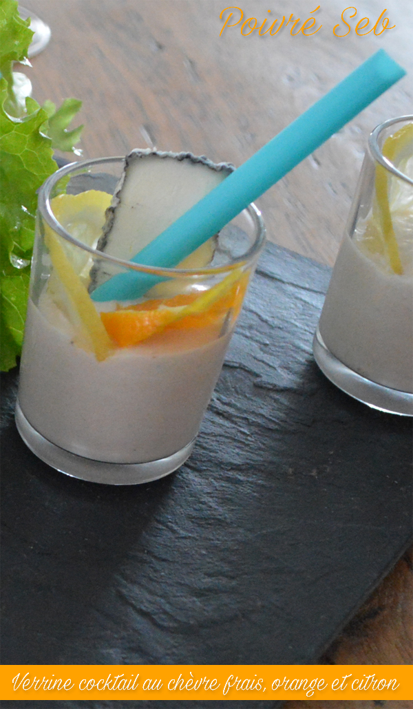 Verrine cocktail au chèvre frais, orange et citron vertical