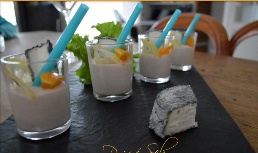 Verrine cocktail au chèvre frais, thon, orange et citron