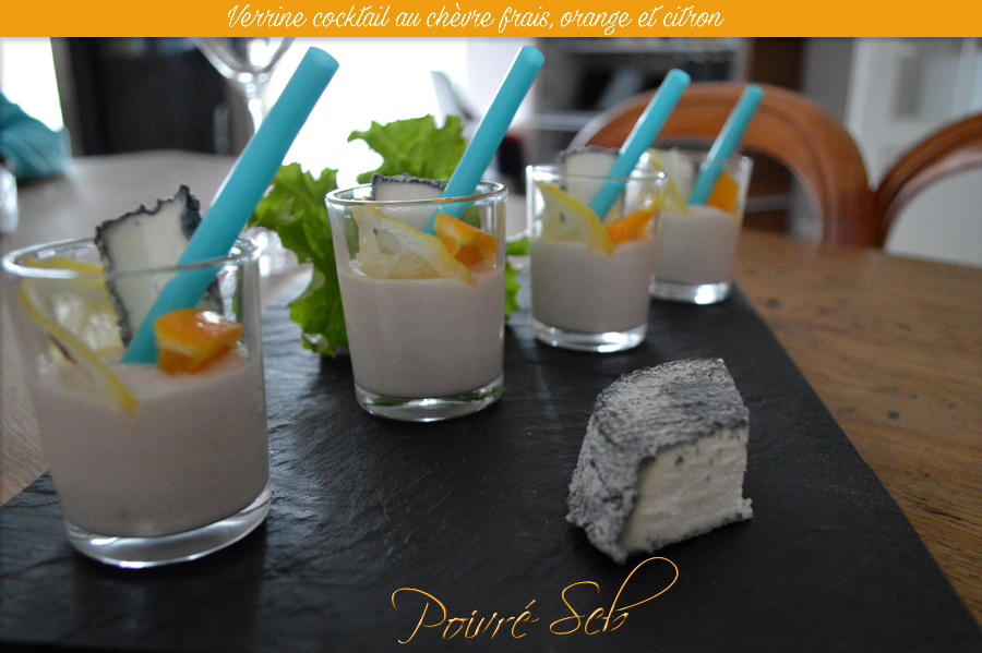 Verrine cocktail au chèvre frais, orange et citron