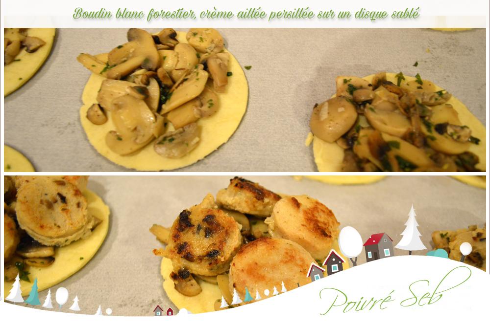 Boudin blanc forestier crème aillée persillée - Préparation
