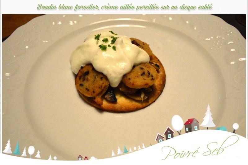 Boudin blanc forestier crème aillée persillée