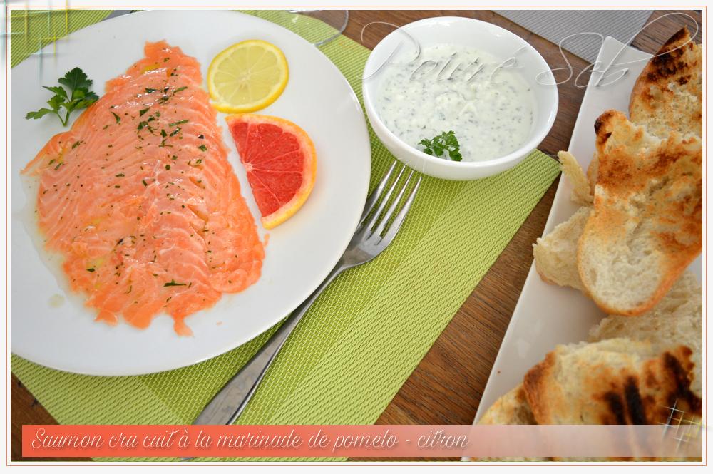 Saumon cru cuit à la marinade de pomelo _2