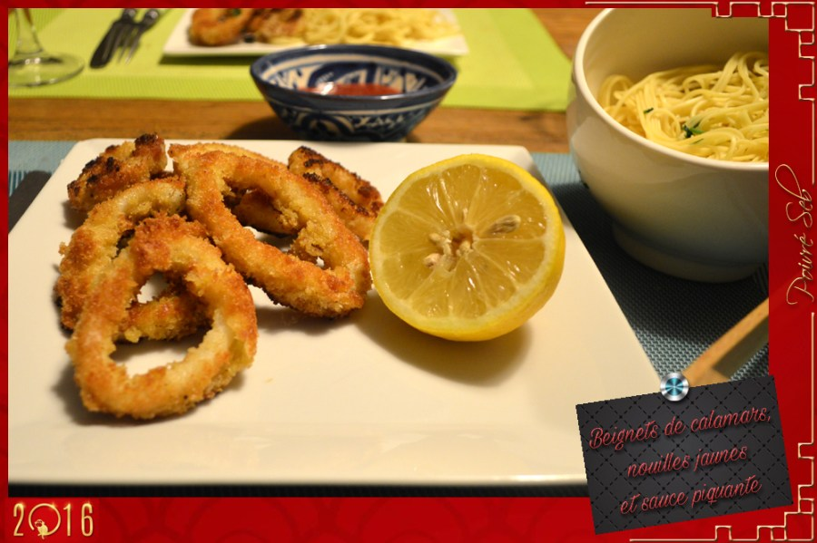 Beignets de calamars nouilles jaunes sauce piquante
