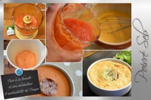 Flan à la tomate et son médaillon d'andouillette de Troyes préparation