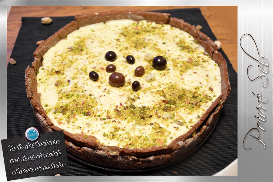 Tarte déstructurée aux deux chocolats et douceur pistache principale
