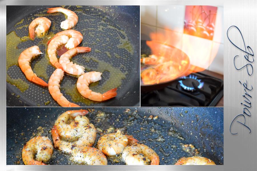 Crevettes roses flambées au Calvados préparation
