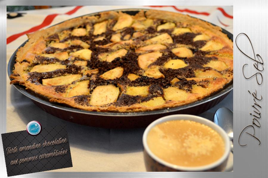Tarte amandine chocolatine aux pommes caramélisées café