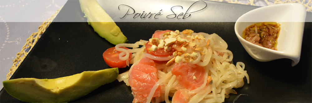 Nouilles de riz en salade fraicheur du moment et sa vinaigrette de soja présentation finale